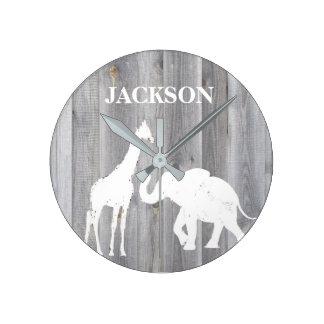 Giraffe & Elephant On Gray Wood Baby Room Clock