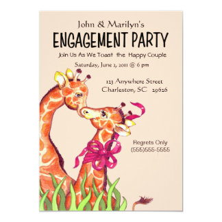 Giraffe Engagement Party  Invitations