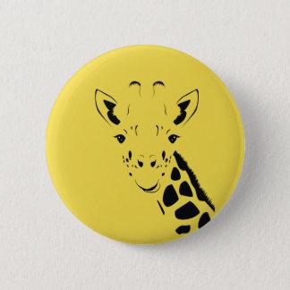 Giraffe Face Silhouette 2 Inch Round Button