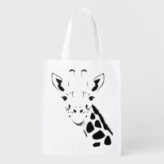 Giraffe Face Silhouette Reusable Grocery Bag