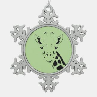 Giraffe Face Silhouette Snowflake Pewter Christmas Ornament