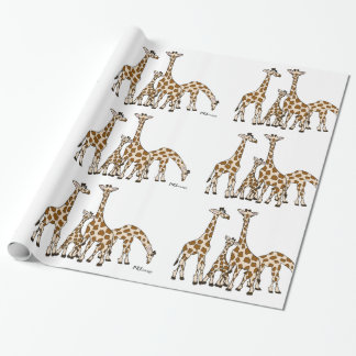 Giraffe Family In Brown and Beige Wrapping Paper