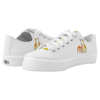 Giraffe Family In Orange and Yellow Lowtop Shoes