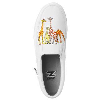 Giraffe Family In Orange and Yellow Slipon Shoes