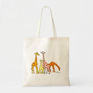 Giraffe Family In Orange and Yellow Tote Bag