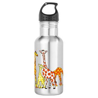 Giraffe Family In Orange and Yellow Water Bottle
