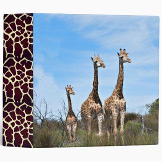 Giraffe Family On Grassy Hilltop 3 Ring Binder