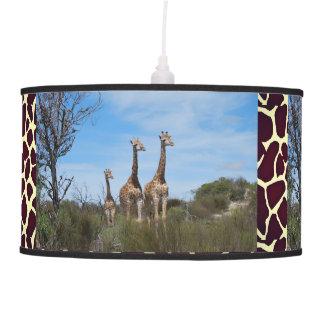 Giraffe Family On Grassy Hilltop Pendant Lamp