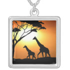 Giraffe family silver plated necklace