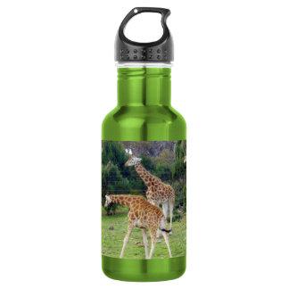 Giraffe Family Time, Aluminum Drink Bottle