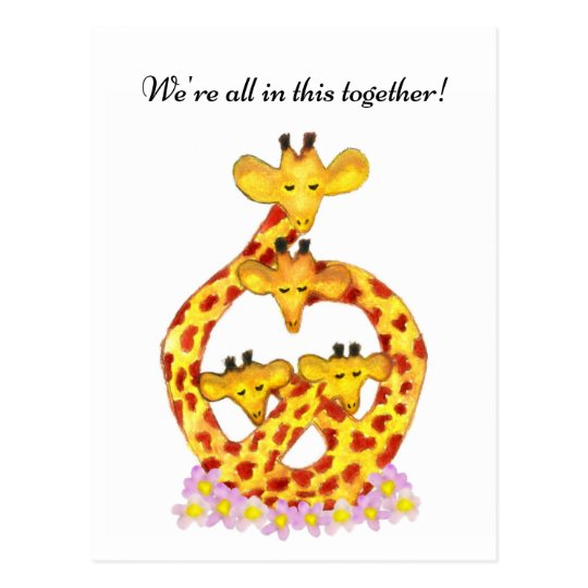 Giraffe Family - We're all in this together! Postcard