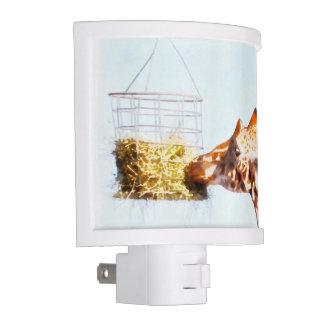 Giraffe feeding from overhead basket nite lites