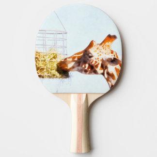 Giraffe feeding from overhead basket ping pong paddle