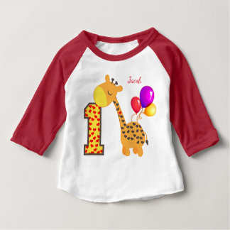Giraffe First Birthday Party Custom Baby T-Shirt