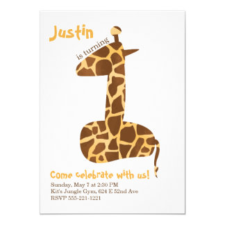 Giraffe First Birthday Party Invitation