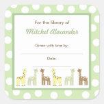 Giraffe Friends Baby Shower Bookplate book plate Sticker