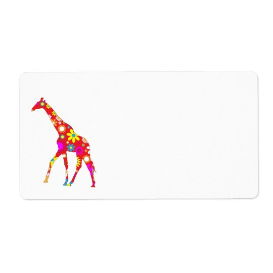 Giraffe Funky floral flowery fun address labels