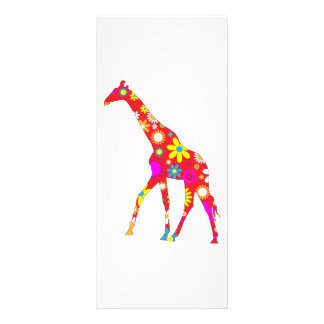 Giraffe funky retro floral business name bookmark custom rack card
