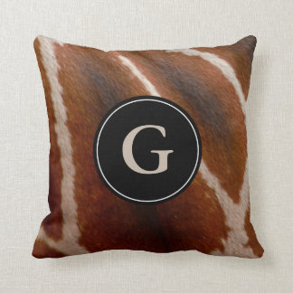 Giraffe Fur Wild Animal Print Pattern | Monogram Throw Pillow