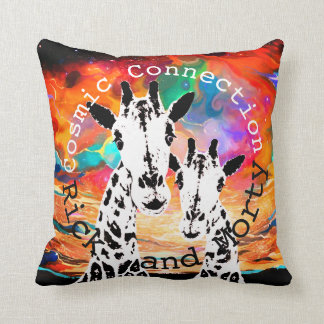 Giraffe Galaxy Cosmic Connection Personalized Throw Pillow