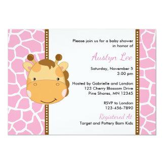 Giraffe Girl Baby Shower Invitations