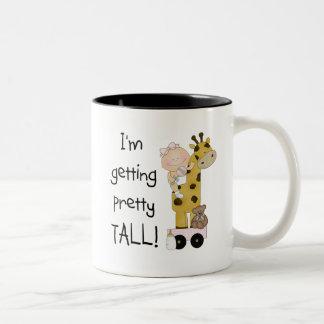 Giraffe- Girl Getting Tall Tshirts and Gifts Two-Tone Coffee Mug