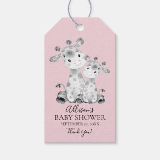 Giraffe Girls Baby Shower Favor Gift Tag