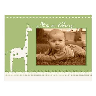 Giraffe Green Its a Boy/girl announcement Postcard