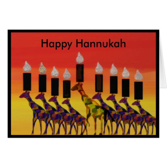 Giraffe Hannukah Lights Cards