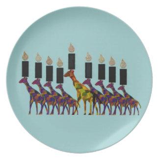 Giraffe Hannukah Menorah Plate