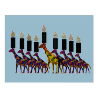 Giraffe Hannukah Menorah Postcard