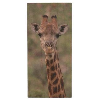 Giraffe Headshot Wood USB 2.0 Flash Drive