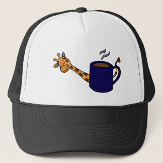 Giraffe Hiding Behind Blue Coffee Cup Trucker Hat