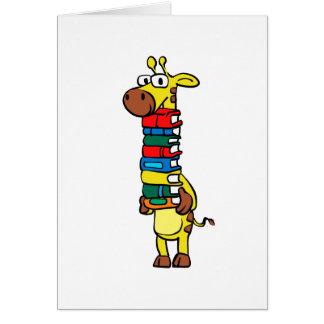 Giraffe holding books card