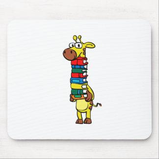 Giraffe holding books mouse pad