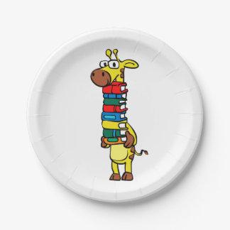 Giraffe holding books paper plate