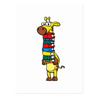 Giraffe holding books postcard