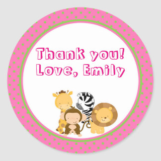 Giraffe Hot Pink Mint Green Thank You Sticker