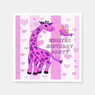 Giraffe illustration in pink color disposable napkin