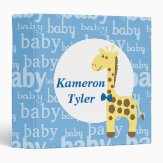 Giraffe in Blue Bow Tie Baby Shower for Boy 3 Ring Binders