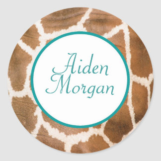 Giraffe in Blue - Customized Classic Round Sticker