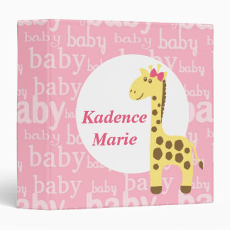 Giraffe in Pink Bow Baby Shower for Girl 3 Ring Binders