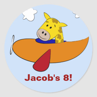 Giraffe in Plane Kids Birthday Classic Round Sticker