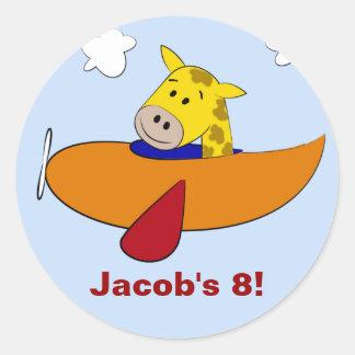 Giraffe in Plane Kids Birthday Round Sticker