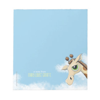 Giraffe in the Clouds Personalizable Small Notepad