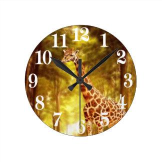 Giraffe in the forest round clock