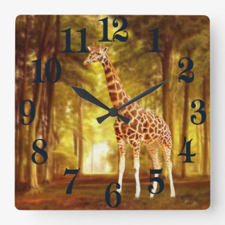 Giraffe in the forest square wall clock