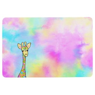 Giraffe in the Rainbow Floor Mat