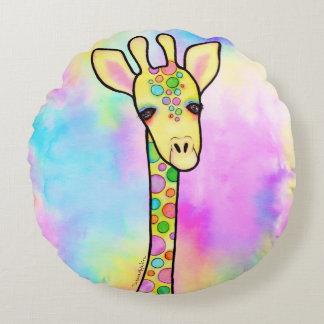 Giraffe in the Rainbow Round Pillow