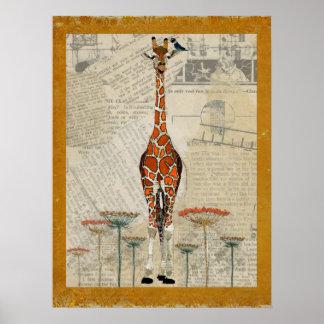 GIRAFFE & INDIGO BIRD Art Poster